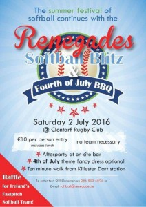 Renegades 4th of July Blitz to support the Womens Fast Pitch team